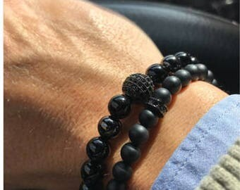 Black Lava Stone Beads and black zircons for Men