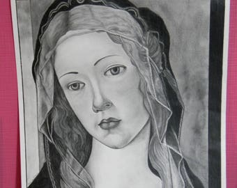 Drawing portrait of Madonna by Botticelli
