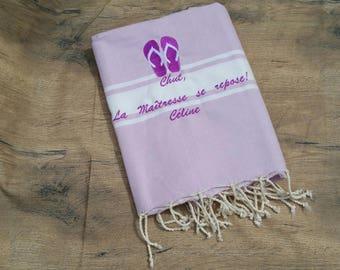Embroidered Fouta, fouta beach towel, fouta personalized, embroidered beach towel personalized