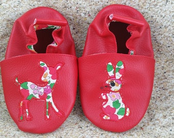 Baby shoes soft leather and leatherette, baby, boy, girl, child, personalized, applied animals