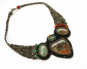 Necklace with heliotrope, aventurine and moss agate