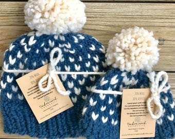 Mother Son Hats, Mommy and Me Hats, Father Son Hats, Matching Pom Hats, Baby Shower Gift, Mother Baby Set, Mommy and Me Pom Hats, Winter Hat