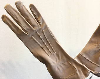 Vintage 1960's Riding Light Brown Suede Skin Gloves Made in England