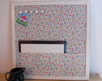 Floral Pin board with white shabby chic frame