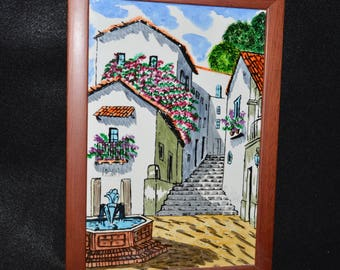Vintage Framed Tile, Wall Hanging or Trivet, Large Art Tile, Colorful Wooden Framed Art Tile Wall Hanging, Hand painted Tile Mexico Spain