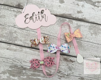Personalised Cloud Bow / Hair Clip Holder