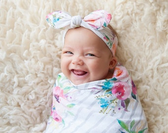 Swaddle blanket + optional baby knot hat or headband, baby girl gift, baby shower gift, Bouquets on Gray, floral baby, new mom gift