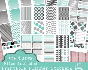 40% off SALE Black and Teal Printable Planner Stickers, Erin Condren Planner Stickers, Weekly Stickers, Teal Black Stickers