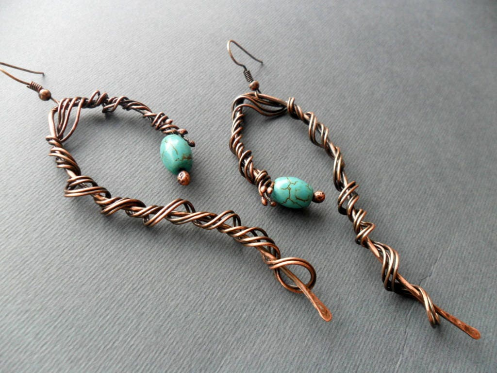 Long Turquoise Earrings, Wire wrapped jewelry, Copper earrings ...