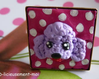 Adjustable filigree square 25 * 25 mm bronze ring with purple polymer clay poodle dog