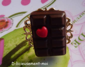 Ring tray adjustable metal filigree gold chocolate and red heart polymer clay