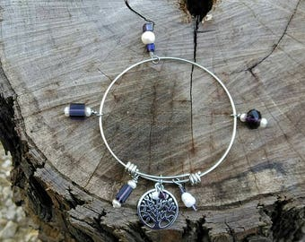Stainless Steel Tree of Life Charm Bracelet Purple with Freshwater Pearls