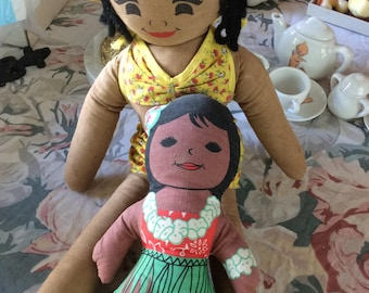 Vintage Hawaiian Cloth Doll Lot, 2, Larger is from the 30's, Small is a C&H Sugar Doll
