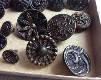 Antique Metal Picture Buttons, Some Marked