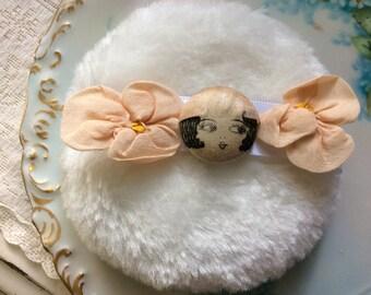 Powder Puff, All Cotton, Antique Silk Painted Flapper Face Garter Button, 2  Antq. Silk Ribbon Work Flowers