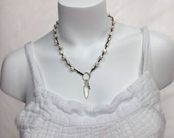 Fresh Water Pearl Crystal Daggar Moonstone Statement Necklace #838