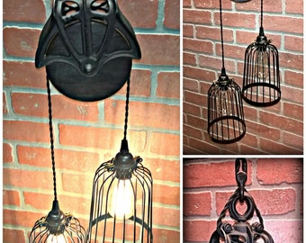 Cool Wood Barn Pulley Light with Vintage Style Bird Cage Shades - Steam - Industrial
