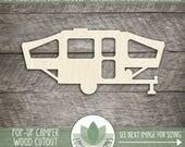 Pop Up Camper Cut Out Wood Shape, Unfinished Wood Camper Trailer Laser Cut Shape, DIY Craft Supply, Many Size Options
