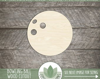 Wood Bowling Ball Shape, Unfinished Wood Bowling Ball Laser Cut Shape, DIY Craft Supply, Many Size Options