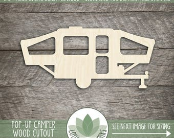 Pop Up Camper Cut Out Wood Shape, Unfinished Wood Camper Trailer Laser Cut Shape, DIY Craft Supply, Many Size Options