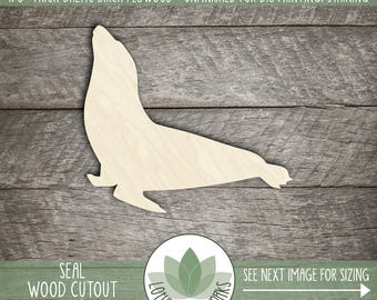 Wood Seal Shape, Unfinished Wood Seal Laser Cut Shape, DIY Craft Supply, Many Size Options