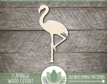Flamingo Wood Cutout, Wooden Laser Cut Flamingo Shape, Unfinished Wood For DIY Projects, Many Size Options, Wood Flamingo