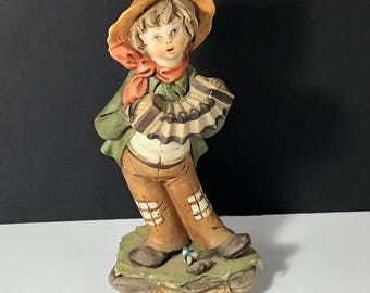 ANTIQUE CAPODIMONTE FIGURINE porcelain Italy statue sculpture Italian made people boy playing accordion instrument polka red hat bandana