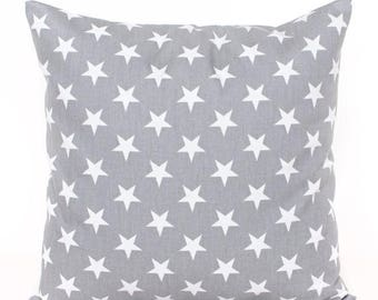 SALE ENDS SOON Star Pillow Cover, Gray Stars Throw Pillow, Star Nursery Pillow, Baby Pillow, Patriotic Stars Pillow, Kids Room Decor