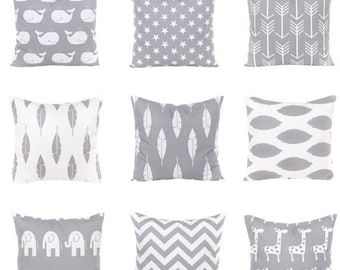 SALE ENDS SOON Gray Throw Pillows, Nursery Decor, Baby Pillowcases, Baby Boy Pillows, Arrows, Feathers, Stars, Zig Zag, Giraffe, Elephants,