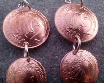 New Zealand 1 and 2 cent coin Earrings