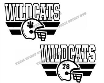 Wildcats Football Helmet with Numbers Download Files - SVG, DXF, EPS, Silhouette Studio, Vinyl, Digital Cut Files -Use with Cricut and more!