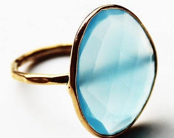 Faceted Semi-Precious Natural Blue Chalcedony Stone 18ct Gold Plated Statement Ring - Size 6