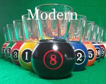 Pool Ball Shot Glasses Full Set