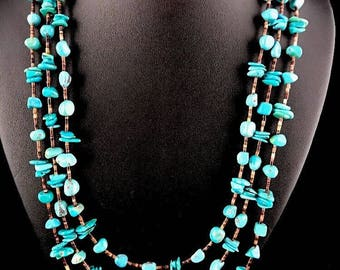 Native American Sterling Silver Turquoise Shell Necklace 3S