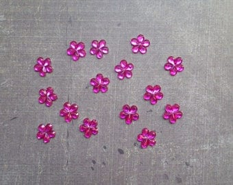Set of 80 rhinestones form little flowers 9mm pink Fuchsia