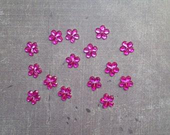 Set of 80 rhinestones form little flowers 9mm pink Fuchsia