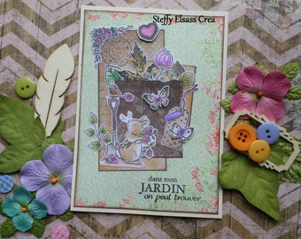 Spring Garden small rabbit Fleur Rose and Butterfly card