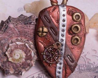 Steampunk shield  pendant