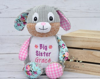 Personalized Stuffed Animal-Personalized Bunny Rabbit Cubby-Personalized Stuffed Bunny-Birth Stats Bunny-Birth Annoucement Stuffed Animal