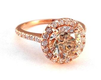 Round Morganite Ring with Diamond Halo Anniversary Ring