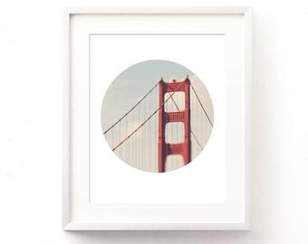 Golden Gate Bridge print, photography download, San Francisco photo, circle print, California decor, printable, Myan Soffia, travel art