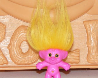 "1.5"" Good Luck Resin Pink Troll Doll, Brooch, Pin, Sunshine Hair, Gold Eyes"