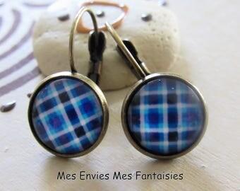 Sleeper earrings ღ ღ blue gingham and white sleeper Bronze