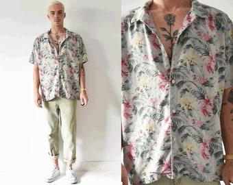 Silk Floral Button Up Mens Shirt/ Unique Mens Collared Tropical Shirt