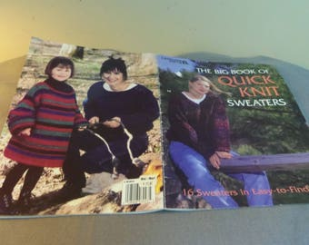 """Knitting Patterns, Big Book of Quick Knit Sweaters, 16 Designs, Sizes S M L, Chest 36"""" - 42"""", Leisure Arts 1998"""