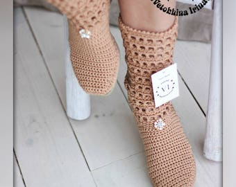 Summer crochet boots Hand knitted for adult, Crocheted Outdoor Summer Wedge Boots, Hippie Folk Tribal Made to Order Women Fashion Boots