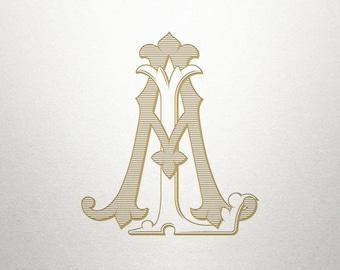 Digital Printable Monogram - AL LA - Printable Monogram - Interlocking