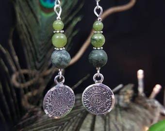 Earrings Ethnic & Jade - gemstones - silver - maya - incas - nature - green - ethnic - Aztec