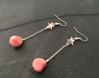 The pink star - Silver earrings