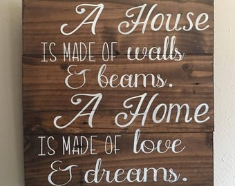 A house is made of walls and beams. A home is made of love and dreams. wood sign